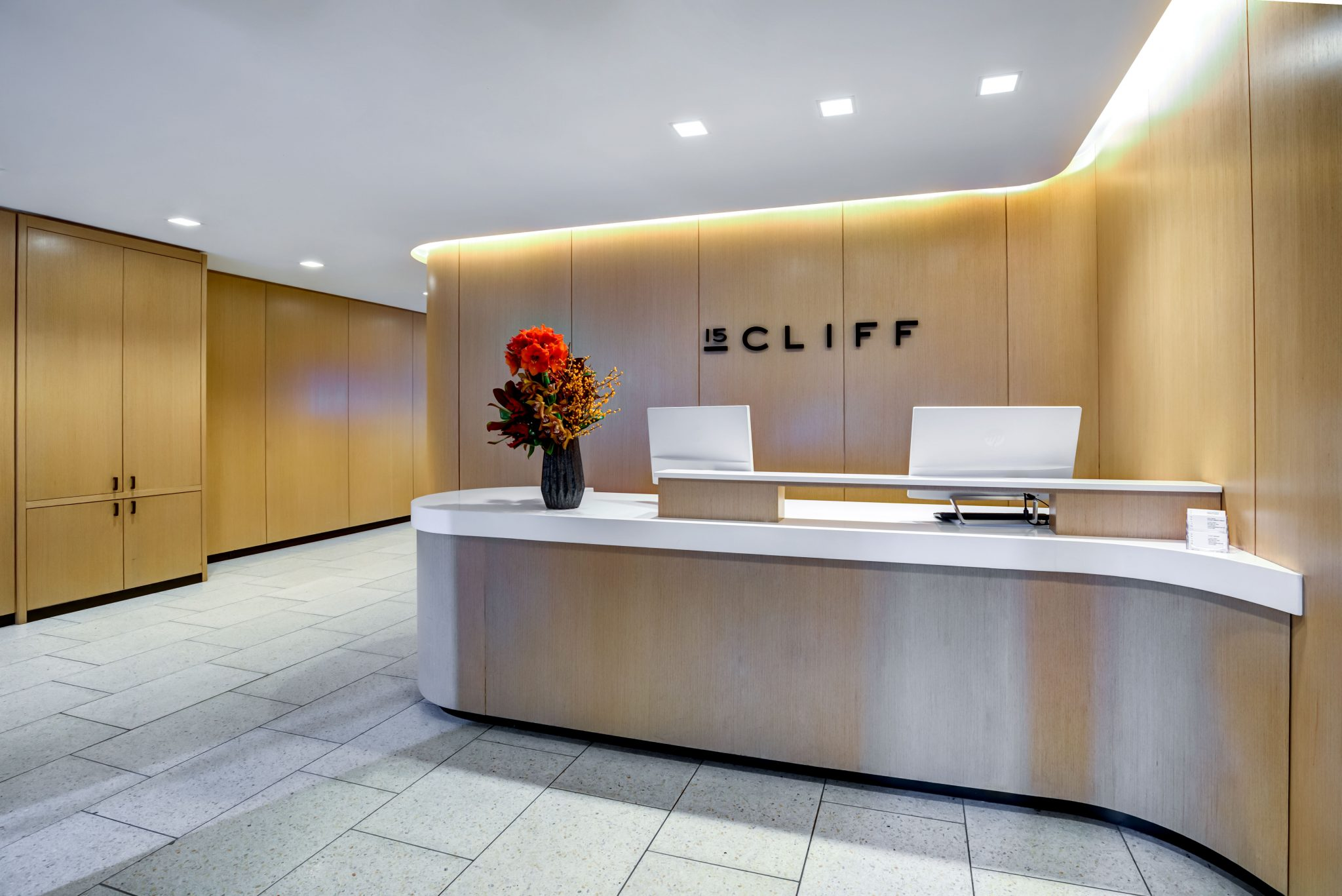 Interior of modern lobby with reception desk