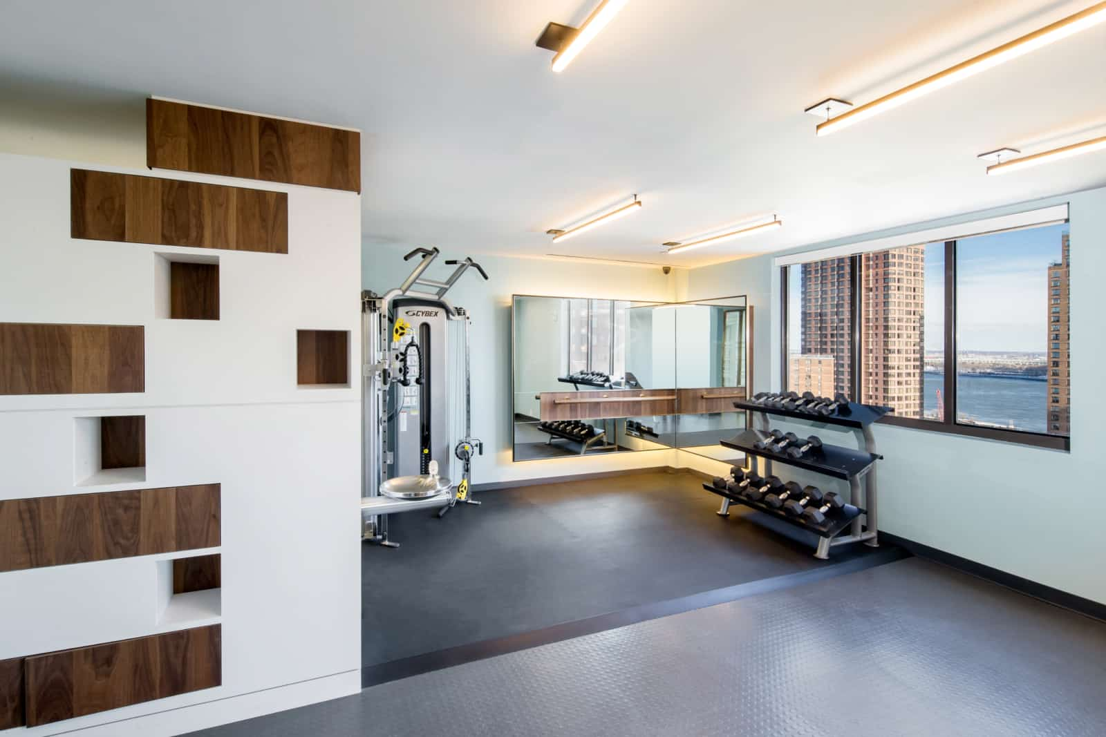 Interior of fitness center free weights area.