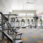 Interior of fitness center with windows and various exercise equipment.