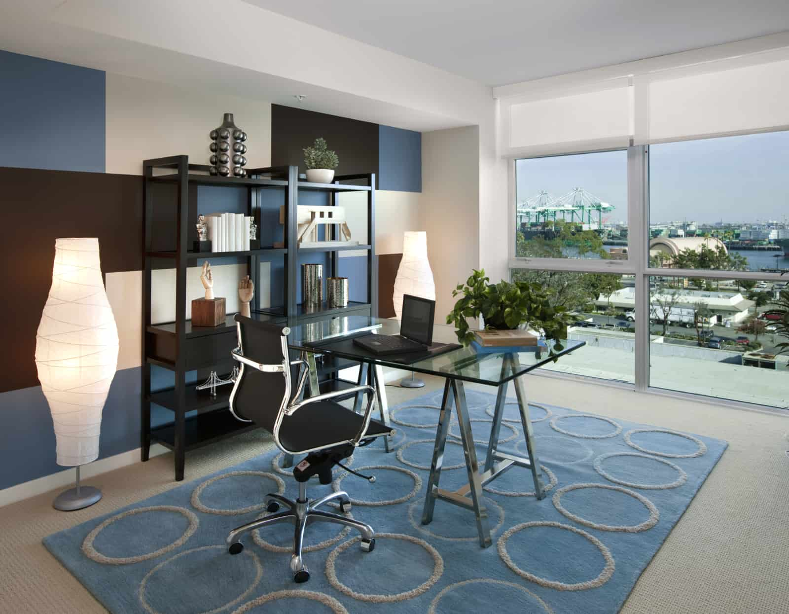 Interior of modern office in a high-rise apartment.