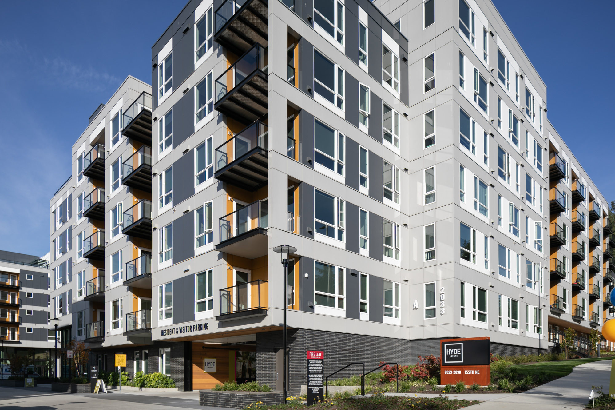Exterior of modern 6-story apartment building