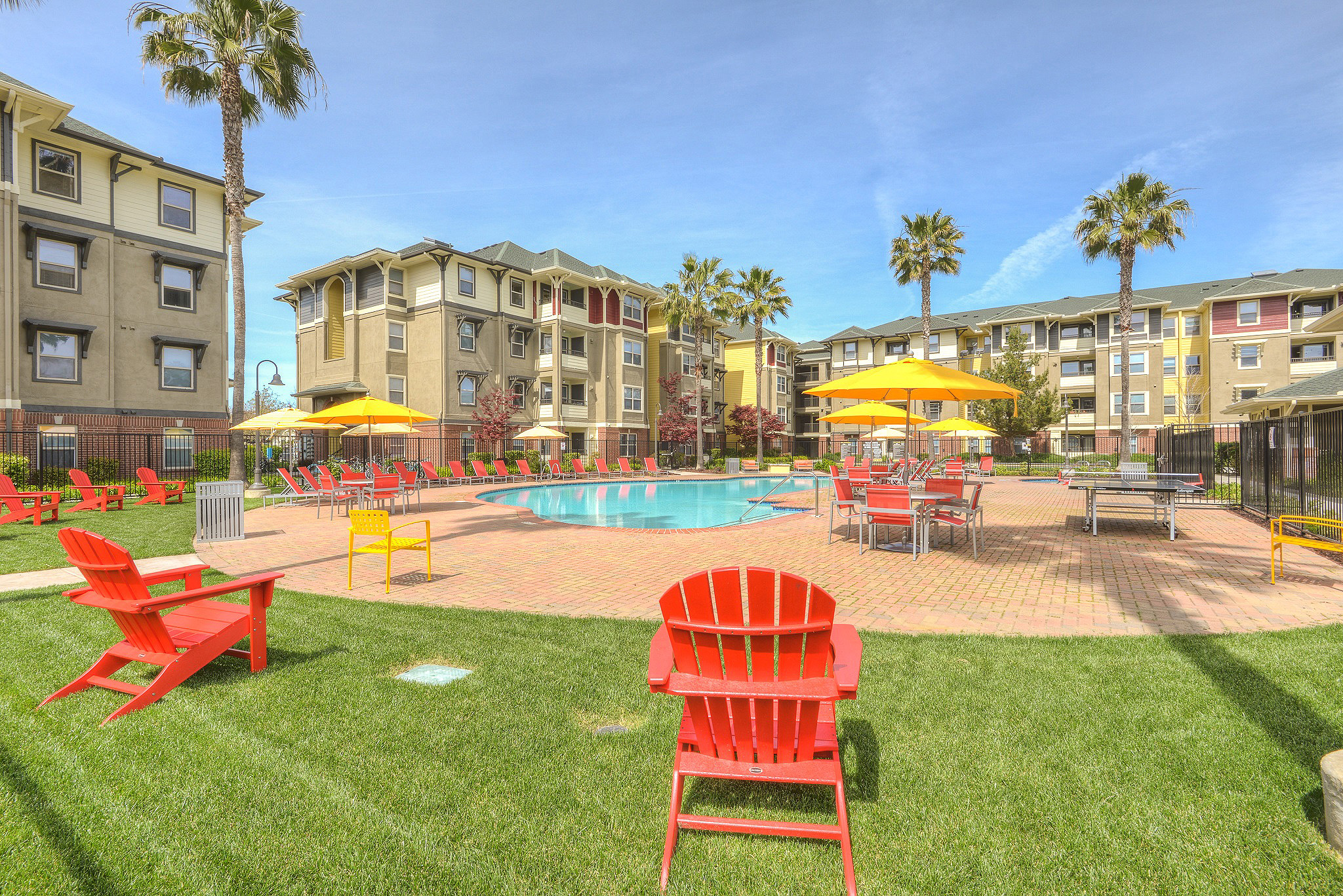 Exterior of lawn, pool deck and pool surrounded by palm trees and 4-story apartment complex