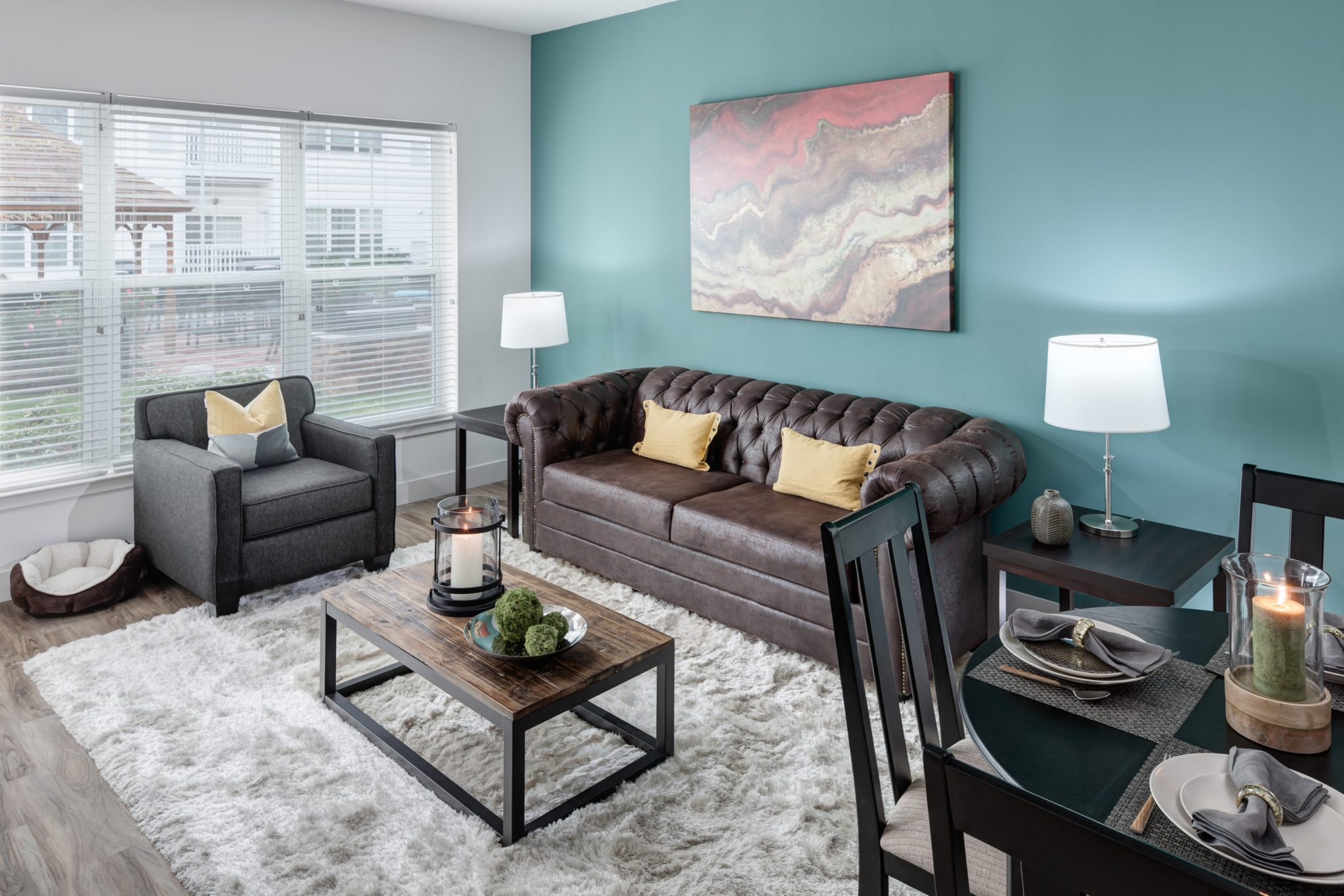 Interior of apartment living room and dining area.