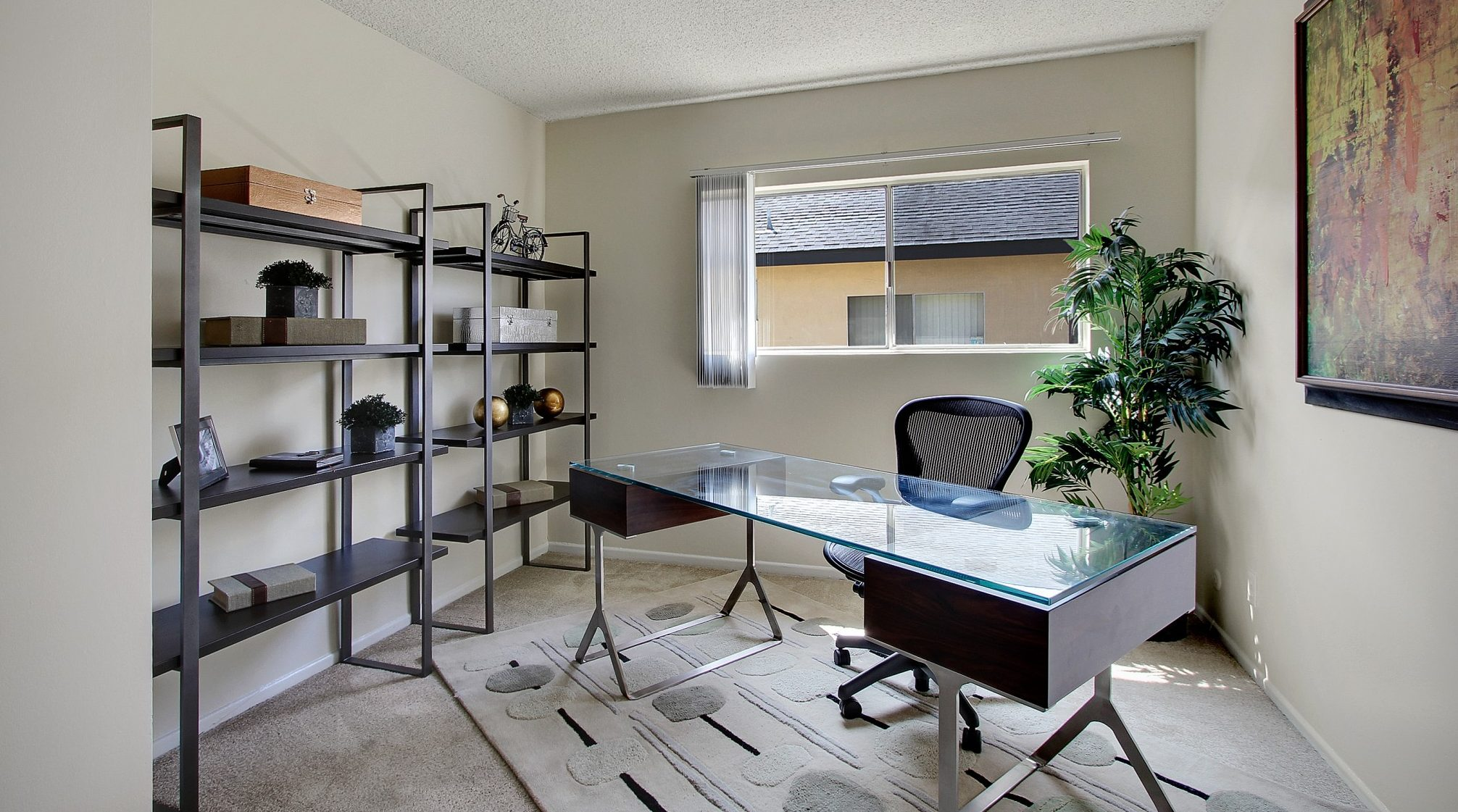 Interior of a room set up as an office.