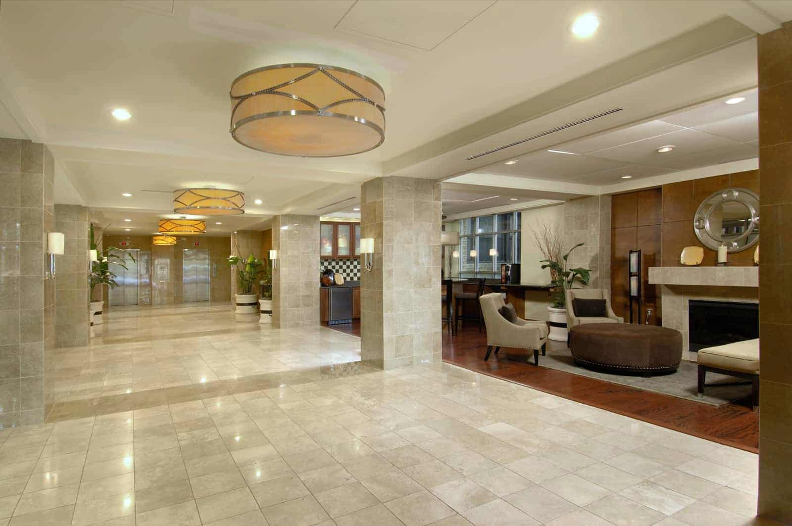 View of the lobby looking toward the elevators.