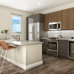Apartment interior of modern, open kitchen with countertop seating and stainless steel appliances