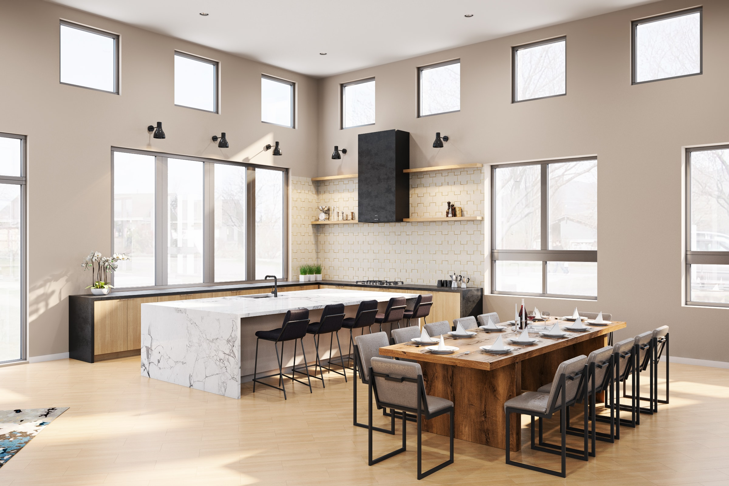 Interior of large, open, shared kitchen area with dining table and countertop seating