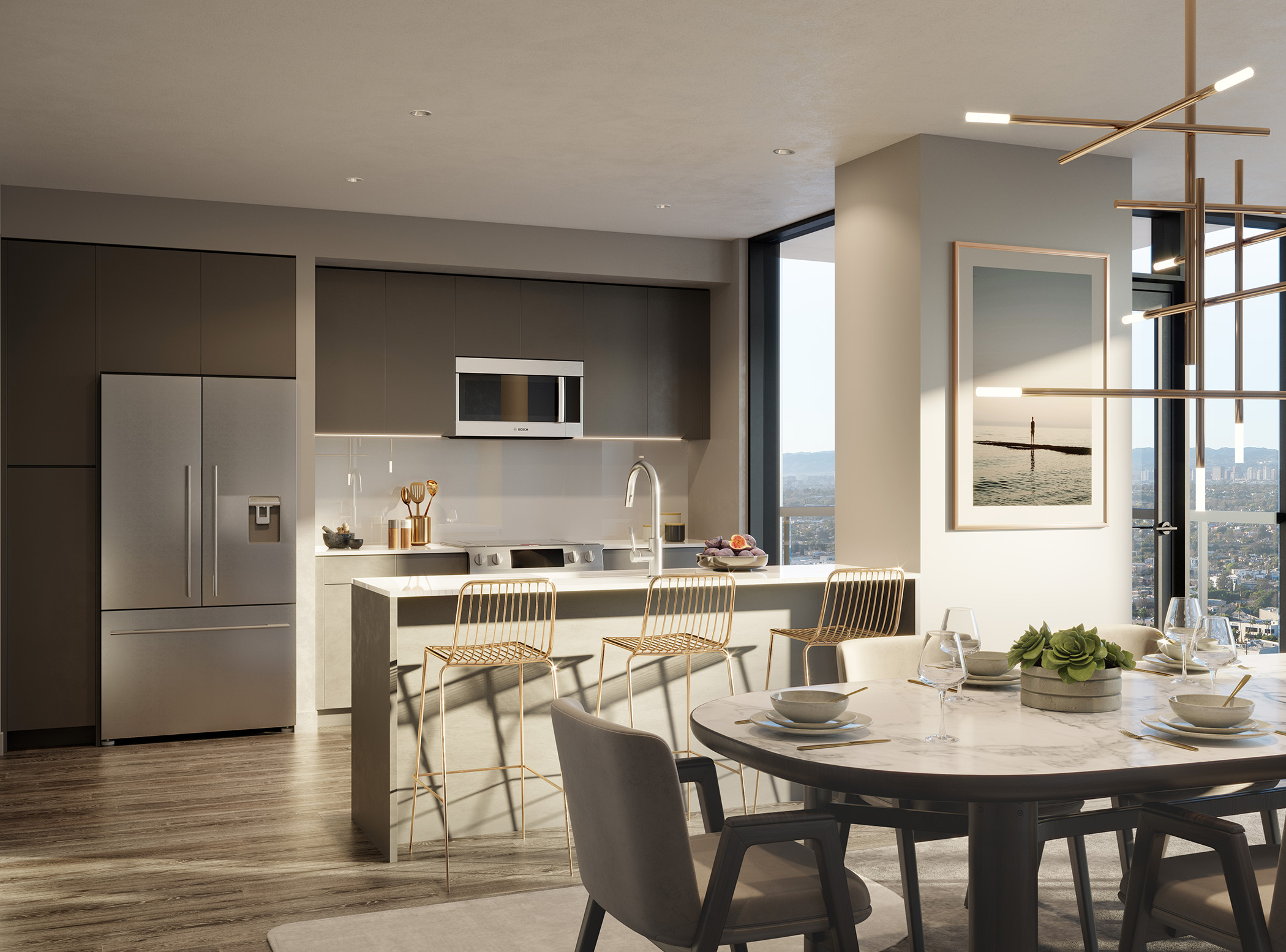 Interior of modern apartment with open kitchen and dining area