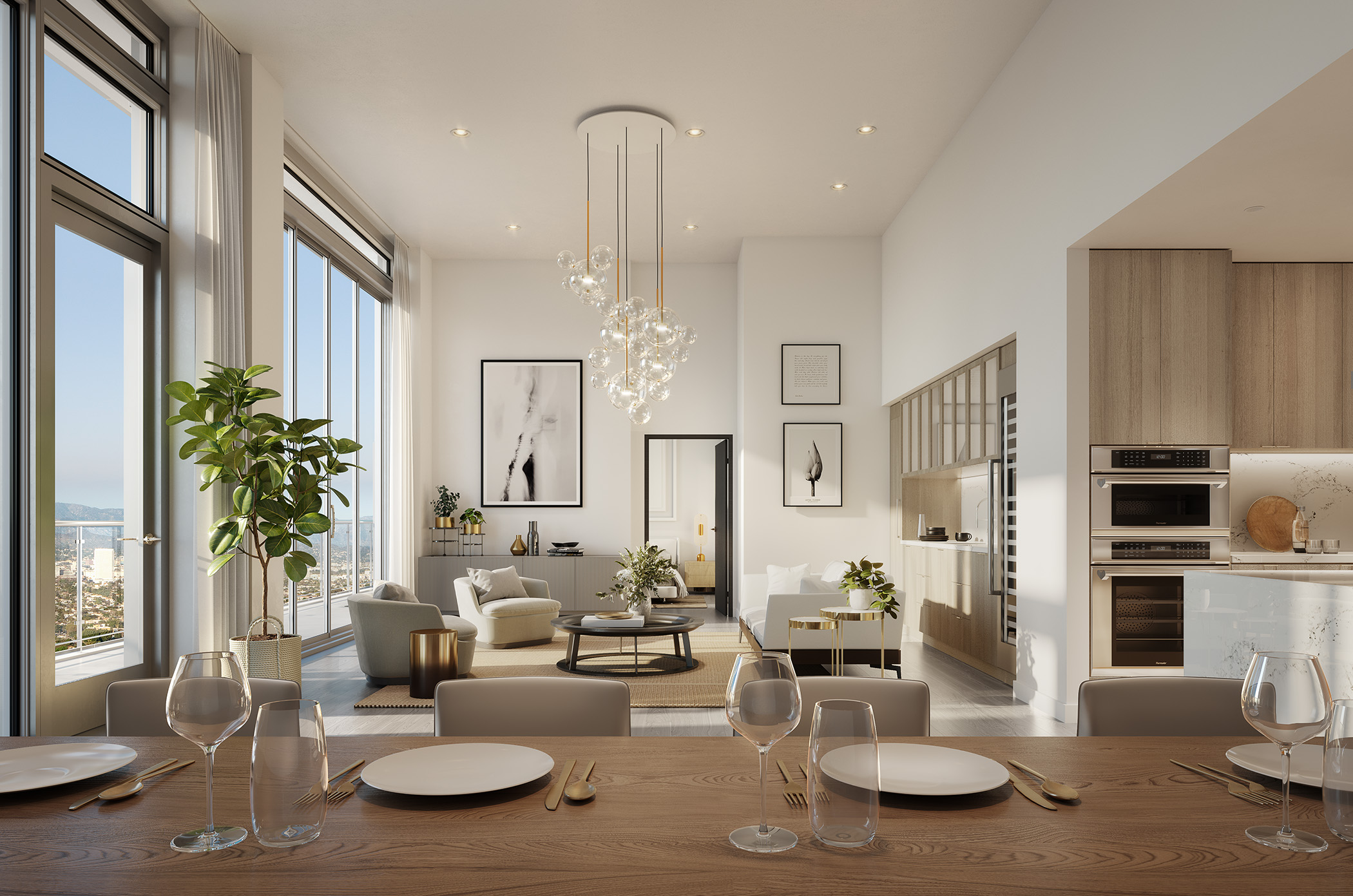 Interior of modern apartment with high ceilings, open kitchen, dining and living room.