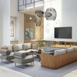 Interior of modern clubroom with open fireplace, couches, and chairs
