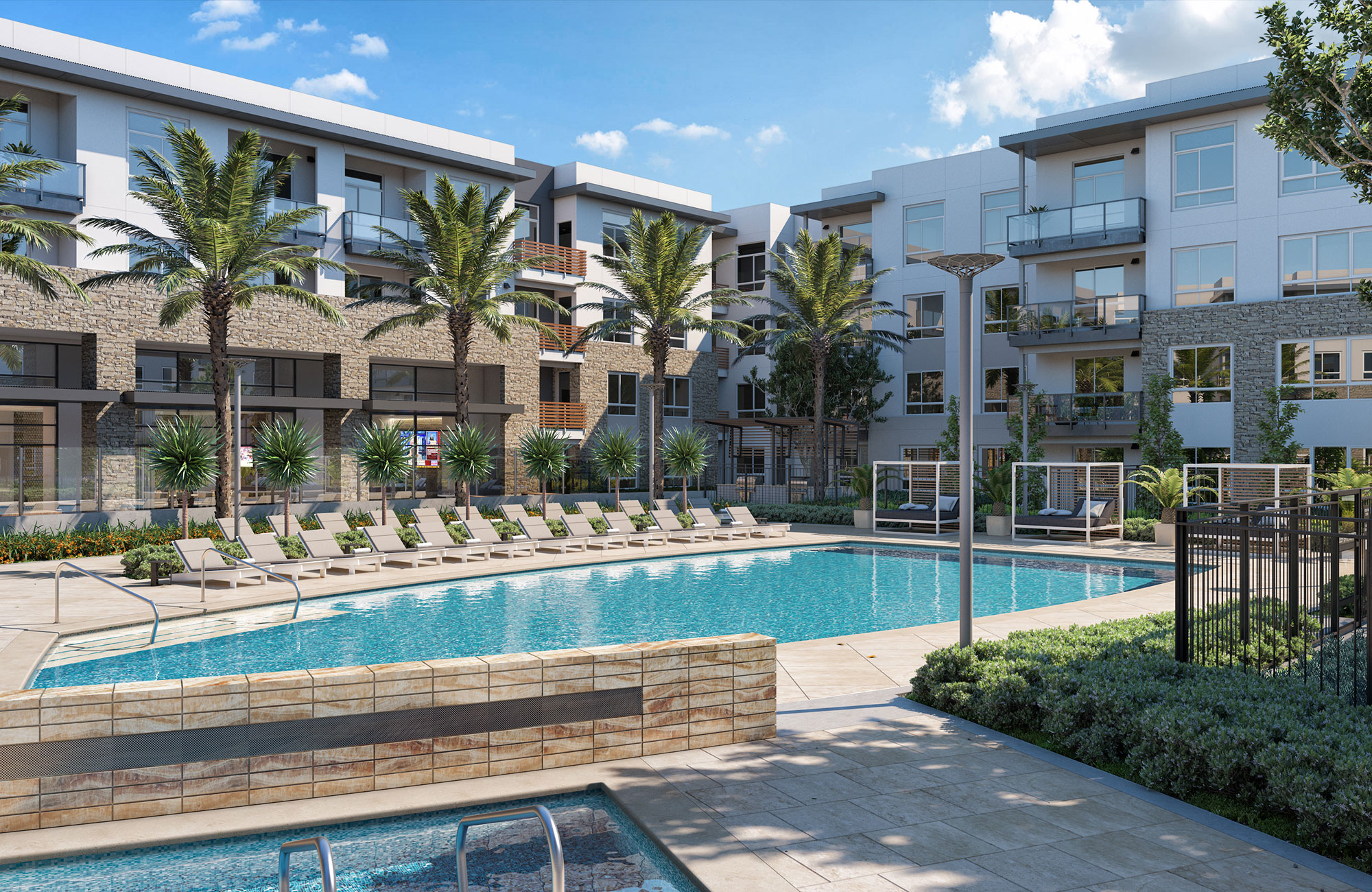 Exterior with large swimming pool surrounded by lounge chairs on deck, palm trees and 4-story apartment building
